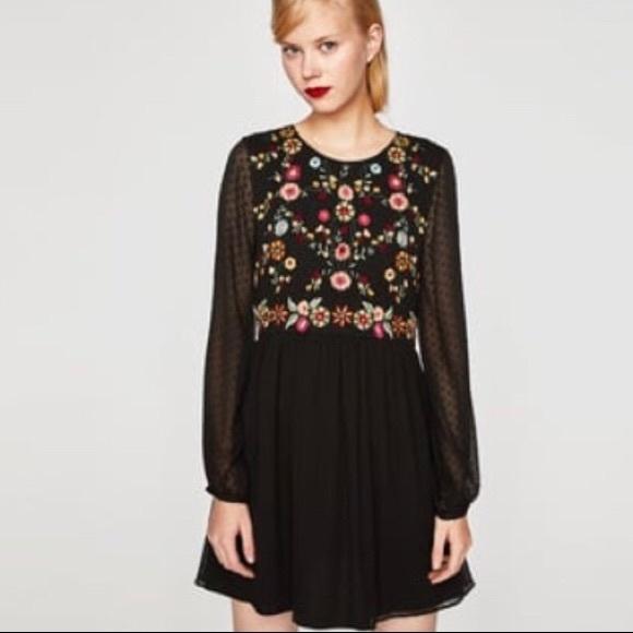 82cd9007 Zara Dresses   Embroidered Dotted Mesh Dress Size L   Poshmark